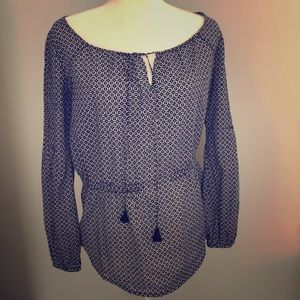 Tory Burch navy and white cotton tunic XS